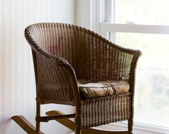 Antique Childs Rocking Chair, Childrens Wicker Rocker, 1800-1920s Furniture, Old Fashion Kids Nursery