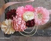 Maternity Sash, Pink Maternity Sash, Belly Sash, Girl Sash, Flower Sash, Baby Shower Sash, Cream, Ivory, Shades of Pink, Maroon, Burgundy