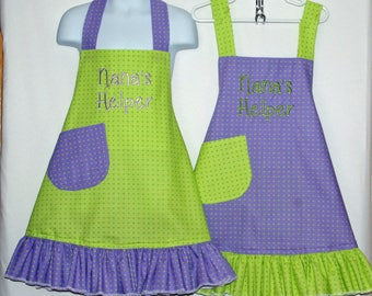 Matching Sister Aprons, Little Girl, Custom Gift, Personalize Grammy Nana Helper, Grandma, Papa, Mommy, Auntie, No Shipping Fee, AGFT 1018