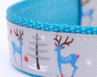 Holiday Reindeer Dog Collar, 1 inch width, Big Dog Collar, Adjustable Pet Collar, Forest Friends, Animal Print