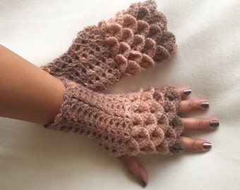 Crochet Fingerless Gloves Crocodile Stitch in Shades of Tan Cafe Light Brown and Orange