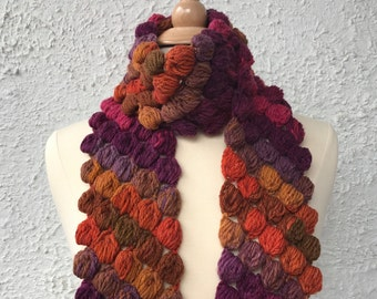 Crochet Scarf Neckwarmer Purple Burnt Orange and Gold Womens Puffy Bobble