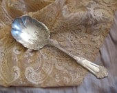 Ornate Antique Silver Plate Large Serving Casserole Spoon