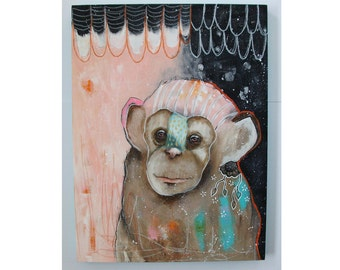 Original Monkey painting whimsical boho mixed media art on wood panel 12x16 inches - The storyteller