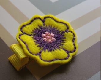 Yellow And Purple Feltie Flower Hair Clip / Non Slip Hair Clip / Baby To Adult Hair Clip/  Ready To Ship