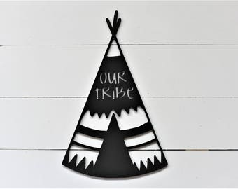 Our Tribe Teepee Wood Cut Out Sign outdoors nature boys family