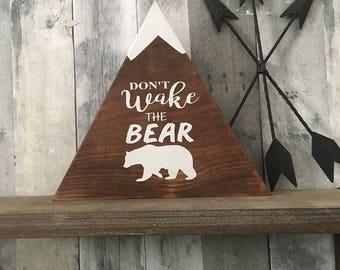 Don't Wake the Bear - Woodland Home Decor - Country Home Decor, Bear Art - Wooden Signs - Country Cabin - Cabin Decor