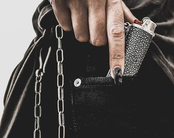 BLAZE & CHAIN Leather and Silver Plated Lighter Holster