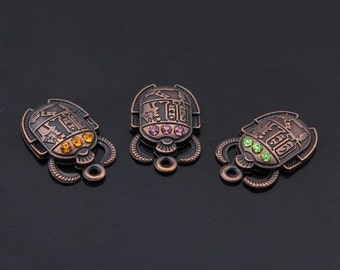 Steampunk Scarab Charm - Copper - 2 Pack