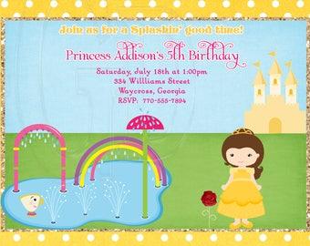 Belle Splash Pad Party Invitation-Digital File
