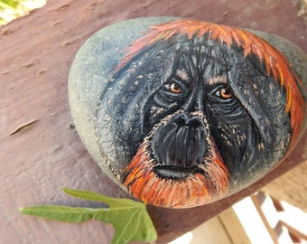 ORANGUTAN Painted Stones Rock Art Animals Spirit Guide Artwork Stone Monkey ART Forest Paperweight Altar Tools Nature Art APE Paintings