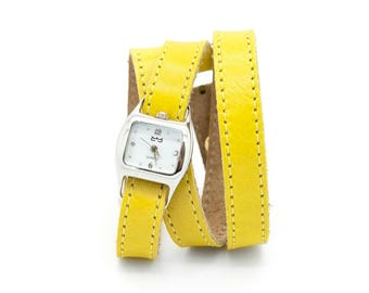 Womens yellow watch, yellow triple wrap watch, yellow leather watch - TWIST