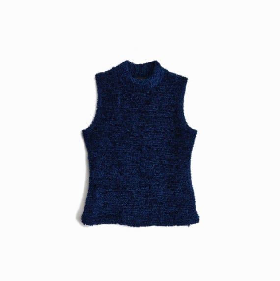 Vintage 90s Fuzzy Blue Turtleneck Top / Sleeveless Turtleneck Top / Midnight Blue - women's small