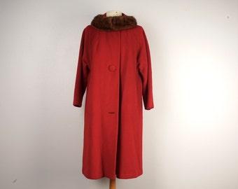 red wool mink fur collar coat 60s vintage winter single breasted straight fit car coat ladies