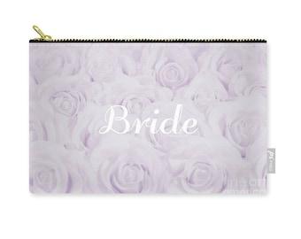 """Lavender """"Bride"""" Makeup Bag, Clutch, Pouch, floral print, gift for bride bridal gift, bridal shower gift, destination wedding- 1610PUBRIDE"""