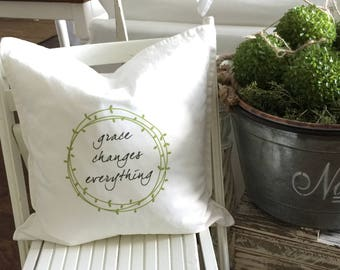 Grace Changes Everything | Throw Pillow | Autumn Decor | Thanksgiving Home Decor | Insert Included |  FREE SHIPPING