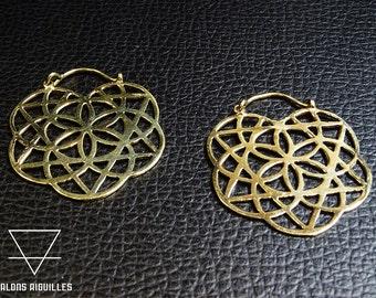 Boucles d'oreille laiton géométrie sacré, fleur de vie # sacred geometric brass earrings 91-455