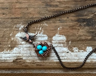 Copper birds nest necklace