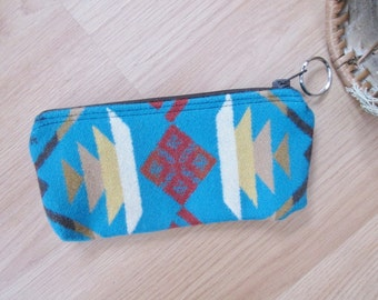 Medicine Bag, Keychain, Coin, Zipper Change Purse, Gift Card Holder Pencil Case Coyote Butte Southwest Leather Tassel or Beads 8 x 4