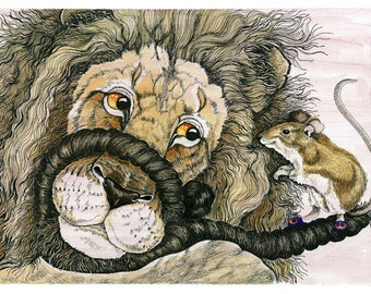 The Lion and The Mouse An original watercolour, with pen and ink, painting of the Lion and Mouse from Aesop's Fables. 11.5x16.5 inches