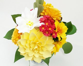 Office decor - Table Decoration - Floral composition - Handmade Paper Flowers  - Made to Order - Customize your style and colors