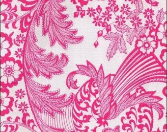 Round Toile Pink Oilcloth Tablecloth