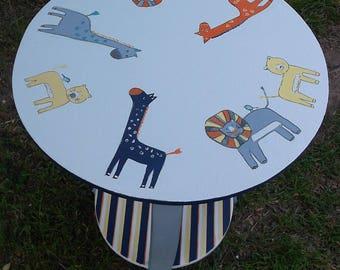 Safari, Nursery table, Round table, Giraffes, lions, Navy orange Grey, Side Table, End Table, Bedroom table, Personalized,Custom