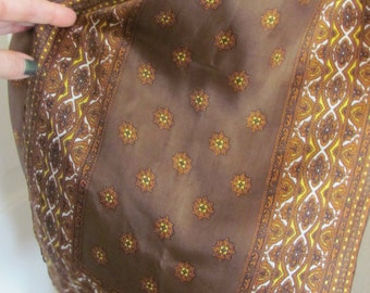 """Lovely Brown Soft Silk  Scarf // 11"""" x 40"""" Long"""