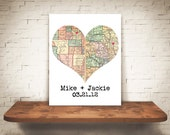 Personalized Map Art Heart Print Faux Book Fold Unique Wedding or Engagement Gift 2 Location