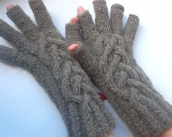 OVERSIZED UNISEX GLOVES / Accessories Mittens Half Fingers Wrist Warmers Hand Knitted Arm Winter Fingered Handmade Gift Ideas Cabled 687