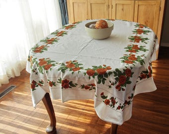 Vintage Tablecloth Brown Roses Cotton Twill 51 x  66