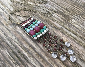 Ancient Abacus Bohemian Necklace - Long Gemstone Necklace - Boho Chic Statement Necklace - Garnet, Turquoise, Quartz, and Amazonite - Silver