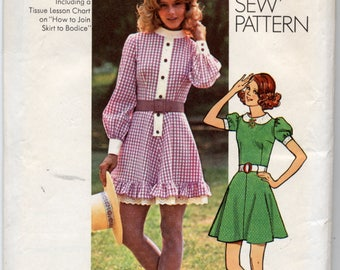 Mini Dress With Flared Skirt In Two Versions Sewing Pattern - Simplicity 9803 - Size 12, Bust 34 - UNCUT