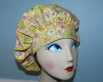 Spring Flower Paisley  Banded Bouffant Surgical Cap