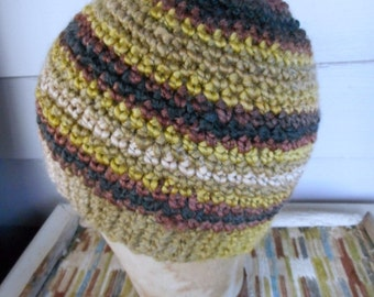 The Autumn Maple Striped Messy Bun Boho Hat Cap Beanie . Handmade Chic Crochet Rustic Chartreuse Walnut ink gray ecru caramel olive copper