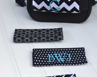 Monogrammed Black/White Luggage Handle Wrap - Set of 2 in Your Choice of Black & White Patterns, Luggage Spotter, Stocking Stuffer