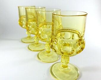 SALE Vintage Glass Goblets Tiffin Glasses Wine / Water Goblets Wine Glasses Yellow Glassware