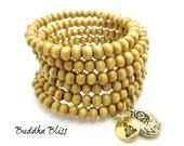 Multi Wrap Wood Bead BE KIND Buddha Charm Bracelet, Meditation, Love, Peace, Kindness