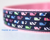 Colorful Whales Dog Collar, Stripe Dog Collar, Dog Collar, Adjustable Dog Collar, Pet Accessory, Preppy Dog Collar, Polka Dot Collar