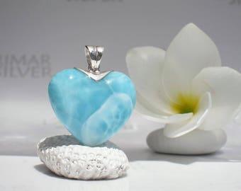 Larimar heart pendant by Larimarandsilver, Love Wave - Caribbean turquoise Larimar, turquoise heart, aqua heart, handcrafted Larimar pendant