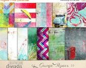 90% OFF Sale Digital paper, Digital Scrapbook paper pack - Instant download - 12 Digital Papers - Grunge textured