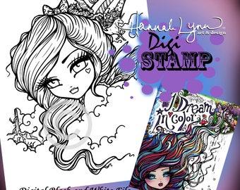 PRINTABLE Digi Stamp Fairy Unicorn Coloring Page I Dream in Color Fun Fantasy Art Hannah Lynn