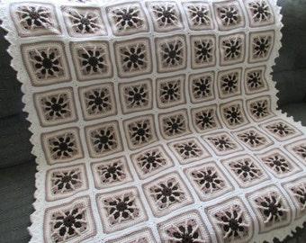 Handmade Crochet Chocolate Mocha Pinwheel Afghan w/ Aran Edging 51x 58