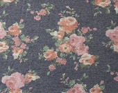Navy Blue Rose Rust and Green Floral French Terry Knit Sweatshirt Fabric, 1 Yard