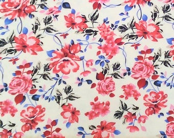 Red Blue and Cream Floral Brushed Poly Spandex Knit, 1 Yard