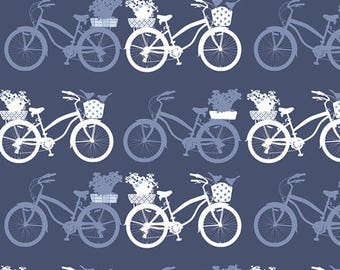 Tonal Blue Bicycle Cotton Fabric, InBlue by Katarina Roccella for Art Gallery Fabrics, Fietsen in Dusk, 1 Yard