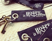 hope is my anchor (Hebrews 6:19) navy fair trade vintage key fob