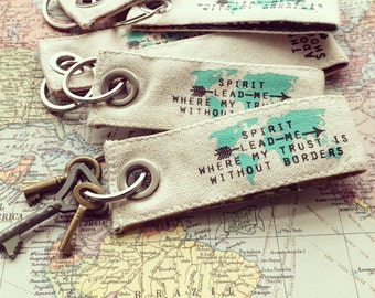 Spirit lead me where my trust is without borders Hillsong United Oceans fair trade vintage key fob