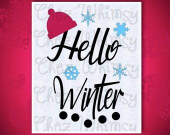 Hello Winter SVG, Winter SVG Design, Snowflakes Svg, Winter Hat SVG, Snow Shirt Design