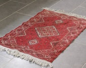 Red Vintage Persian Rug- Throw Rug with Fringe 41x27